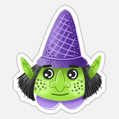 Witchy Green faced witchy in purple - Sticker
