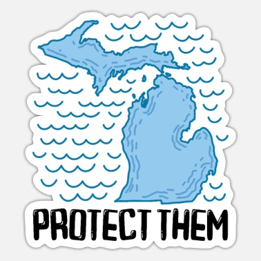 Five Great Lakes MICHIGAN STATE / GREAT LAKES - protect them - Sticker