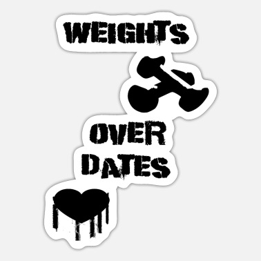 Power Lifting weights over date's - Sticker