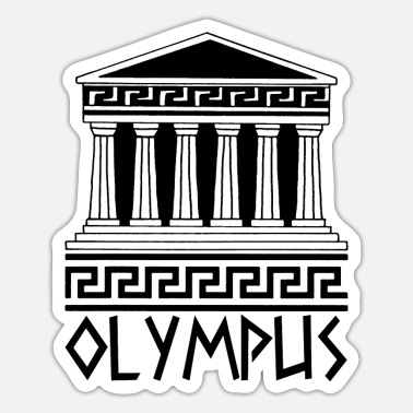 Antique Black Temple at Mount Olympus - Sticker