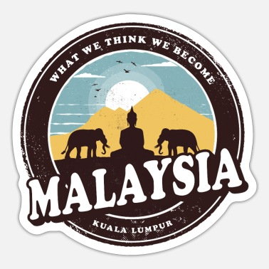 Malaysia Malaysia Vintage Design with Buddha and Elephant - Sticker