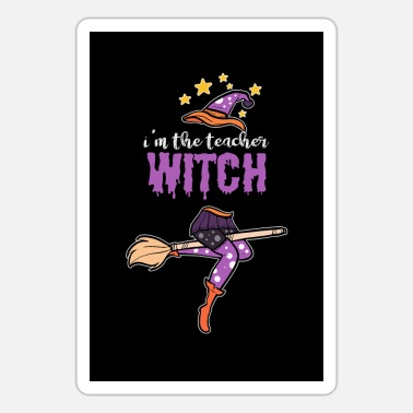 Teacher Witch Halloween Witches Broom Broomstick - Sticker