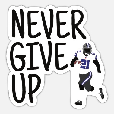 Never Give Up - American Football (blauw, zwart) - Sticker
