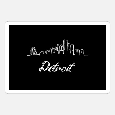 Skyline Detroit City Skyline USA Oneline American Outline - Sticker
