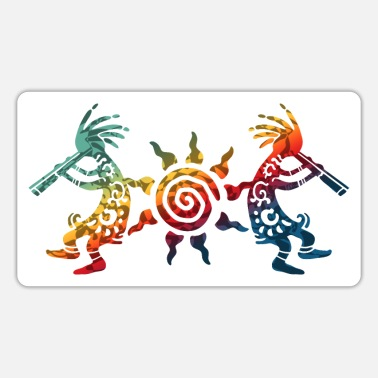 Spirit Native American Kokopelli Duo With Sun 2 - Sticker