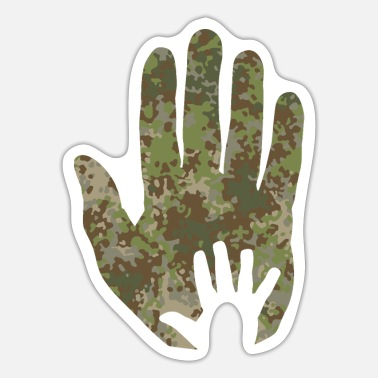 Militair Multitarn camouflage babyhand in hand - Sticker