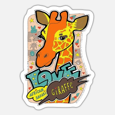 Kenya Love African safari animals. Wild life. Giraffe. - Sticker