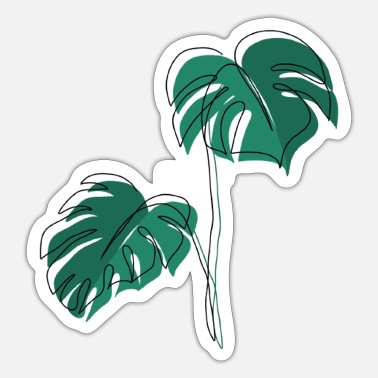 Minimum Monstera, Lineart, plant, Pflanze, Blad, Minimaal - Sticker