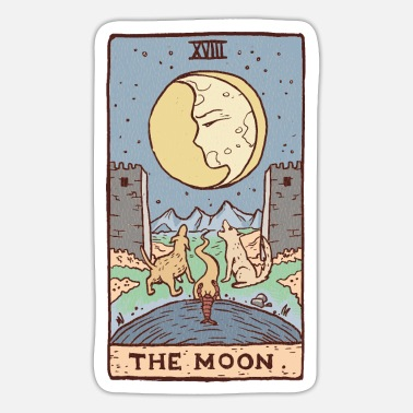 Moon Tarot Dogs Howling At Moon Fantasy Castle - Sticker