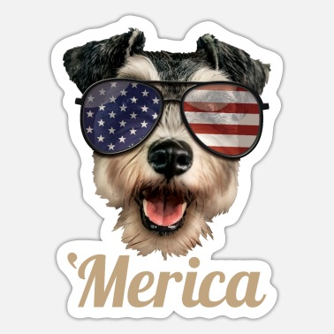 Miniature Schnauzer Merica Miniature Schnauzer 4th Of July Gift - Sticker