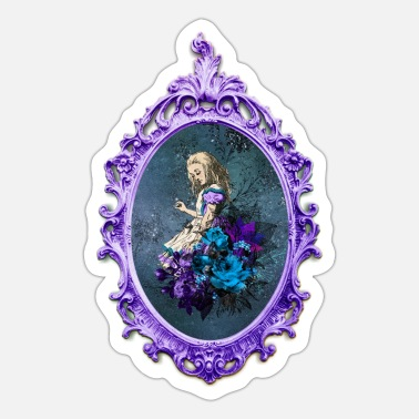 Frame Dark Alice - Alice mit Blumen Bouquet - Sticker