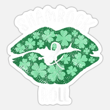 Sexy Girl Womens Shamrock Roll Green Lips - Sticker
