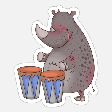 Violin The rhino plays drums - Sticker