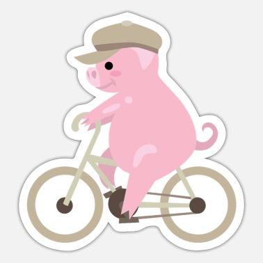 Schwein auf Fahrrad Ferkel Bike Pig porc maiale Kissenhülle | Spreadshirt