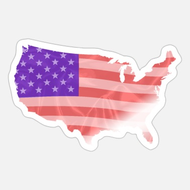 United USA kort silhuet silke flag - Sticker