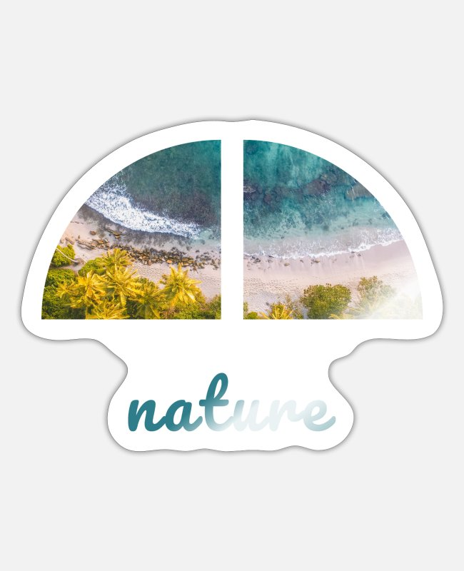 Travel Bug Stickers - Green South Sea Beach Travel / travel motif - Sticker white glossy