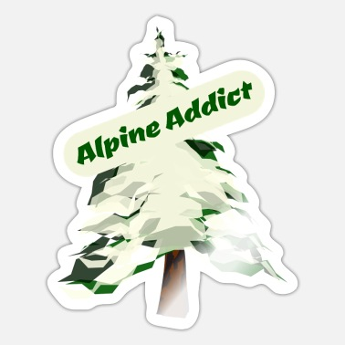 Alpine Club Alpine Addict, Slalom ski, Fir Tree, Alpine Tree - Sticker