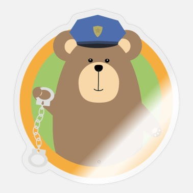 Wijk Officer Grizzly met handboeien in de wijk - Sticker