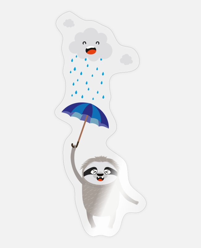 Young Stickers - Umbrella Sloth in the rain - Sticker transparent glossy