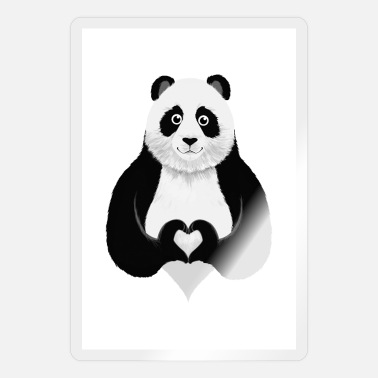 Heart Hands Panda Heart Hand - Sticker