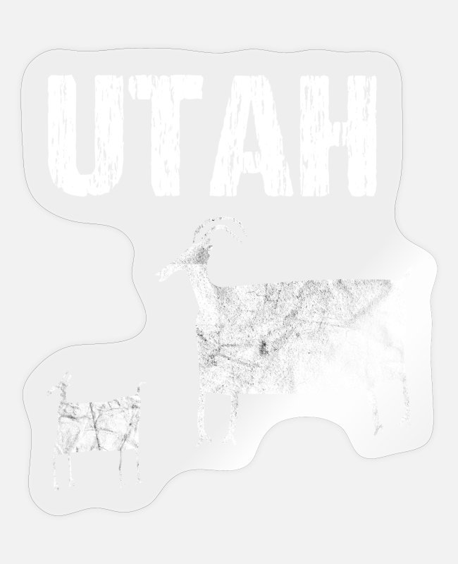 Montana Stickers - Utah - with goats (stone carvings petroglyphs) - Sticker transparent glossy