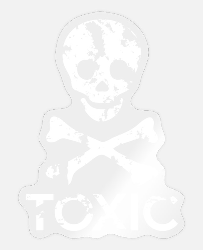 Skull And Crossbones Stickers - Grungy Warning Sign – Toxic - Sticker transparent glossy
