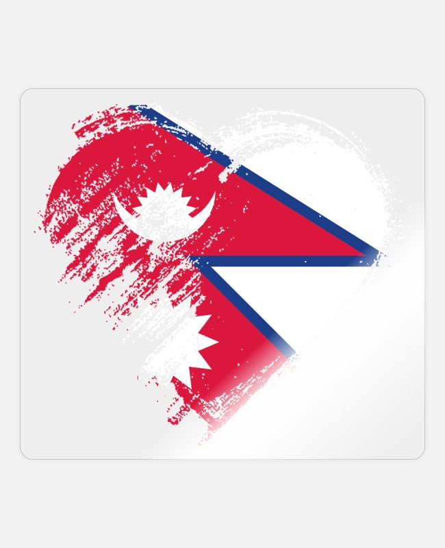 Heart Stickers - Grungy I Love Nepal Heart Flag - Sticker transparent glossy