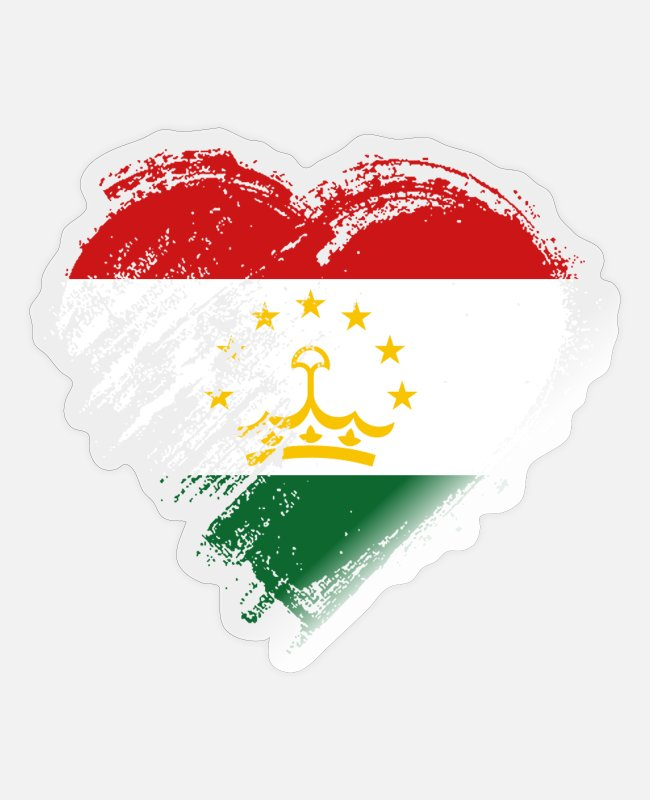 Heart Stickers - Grungy I Love Tajikistan Heart Flag - Sticker transparent glossy
