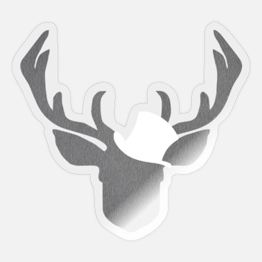 Deer with cylinder in white as a gift structure - Sticker