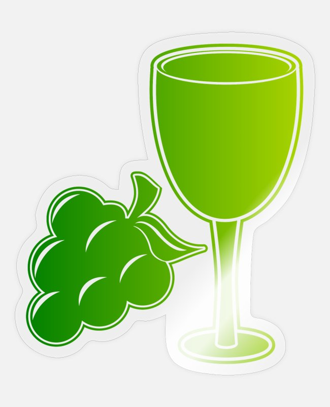 Wine Glass Stickers - Grapevine wine wine glass - Sticker transparent glossy