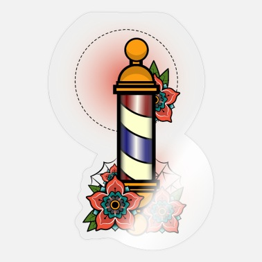 Poll Vintage Retro Barber Poll design Illustration Gift - Sticker