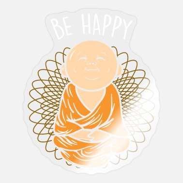 Kleine Be Happy Zen Little Buddha Mandala boeddhist - Sticker