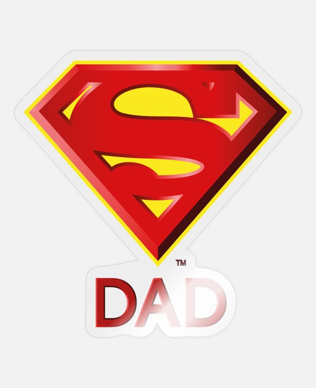 Superhero Stickers - Superman 'Super DAD' Men T-Shirt - Sticker glanzend transparant