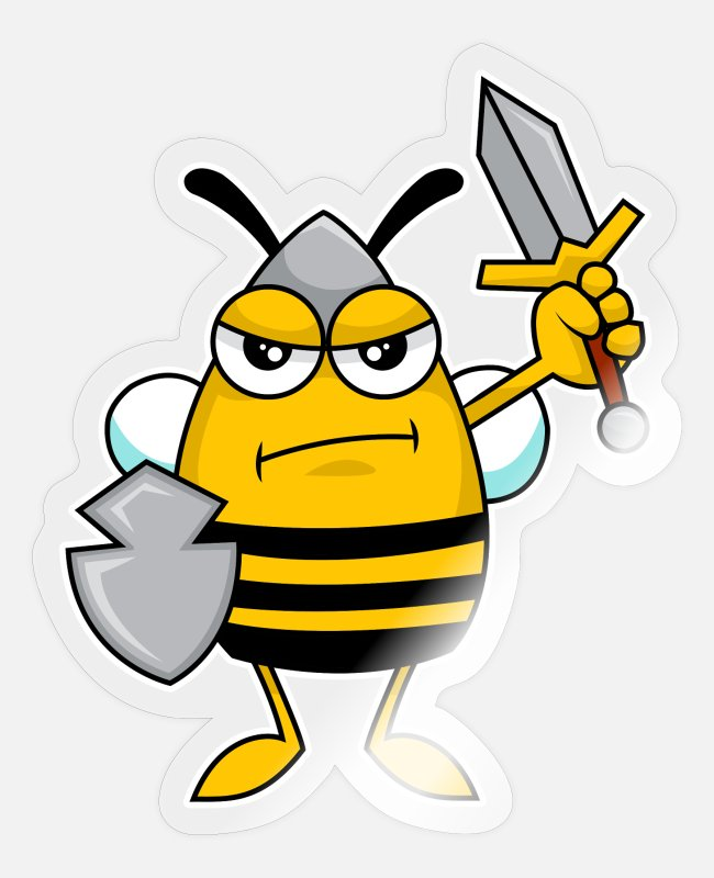 Funny Pictures Stickers - Protector Bee Knight - Design - Sticker transparent glossy
