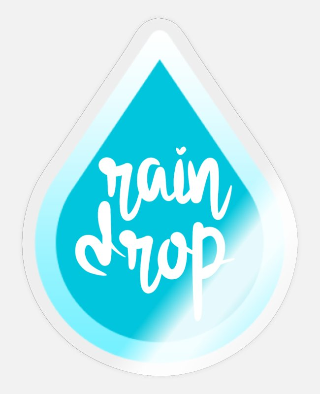 Water Stickers - Weather, rain drop - Sticker transparent glossy