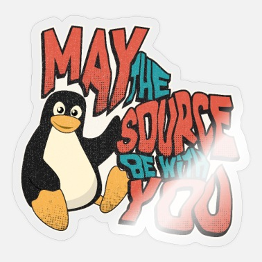 Open May the source be with you tux Admin lustig - Sticker