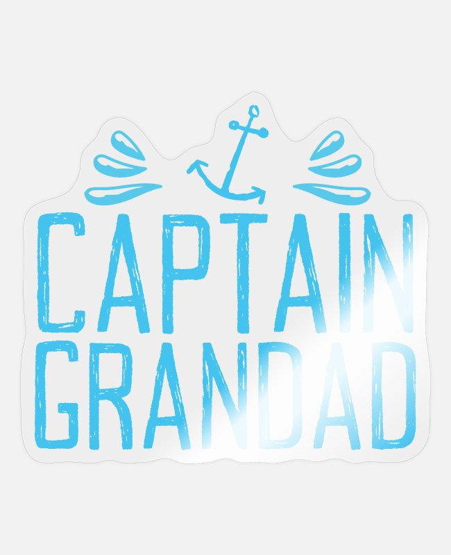 Grandpa Stickers - Captain grandad Blue with anchors - Sticker transparent glossy