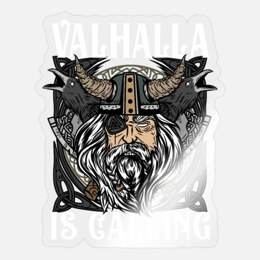 Walhalla is calling T-Shirt Wikinger Bart Stolz - Sticker