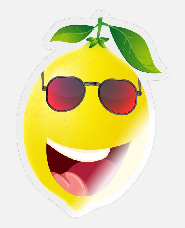 Lime Stickers - Laughing lemon with sunglasses - Sticker transparent glossy