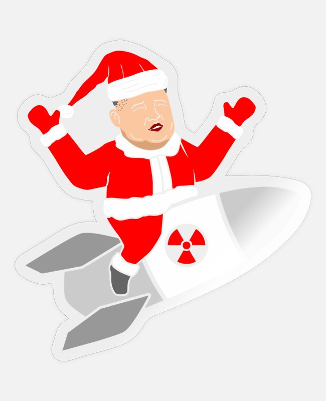 Missile Stickers - Kim Jong Un atomic bomb missile Santa Claus - Sticker transparent glossy