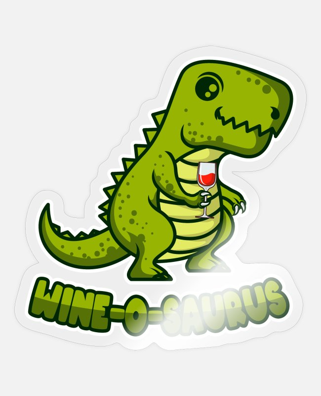 Wine Stickers - WINE O SAURUS Wine Dino gift for wine drinkers - Sticker transparent glossy