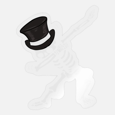 Dabbing skeleton with cylinder - Sticker
