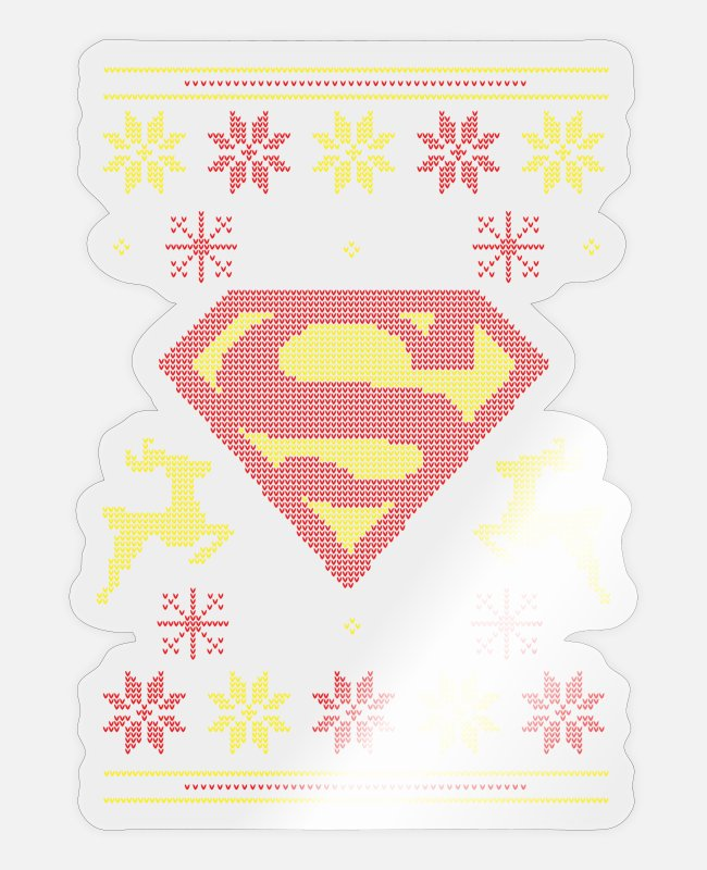 Superhero Stickers - Justice League Superman Ugly Christmas - Sticker glanzend transparant