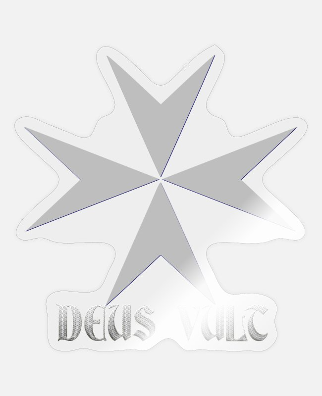 Templar Stickers - Knights Templar cross Deus Vult silver - Sticker transparent glossy