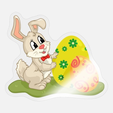 Oyster Eggs Cute Easter Bunny Hides Behing Colored Eggs - Sticker