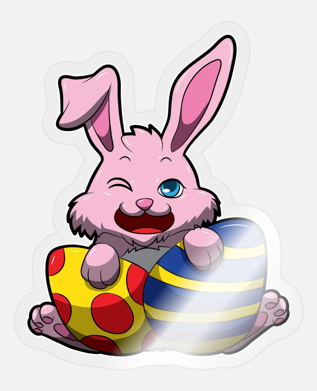 Easter Stickers - Cute Easter Bunny Wishes You A Happy Easter - Sticker transparent glossy