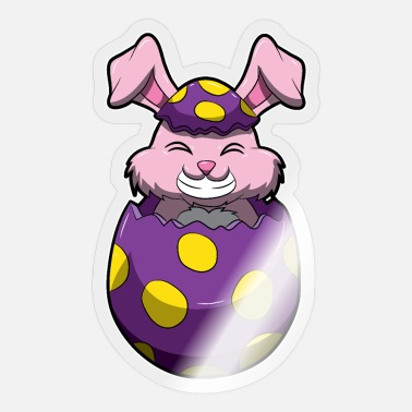 Oyster Eggs Easter Bunny Pops Out Of A Painted Egg - Sticker