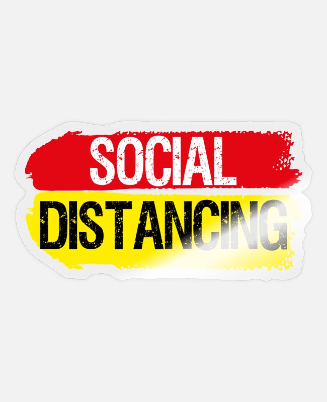 Social Stickers - Social Distancing Antisocial distance - Sticker transparent glossy