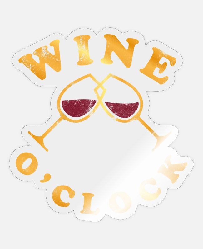 Lover Stickers - Wine O'clock wine lovers - Sticker transparent glossy