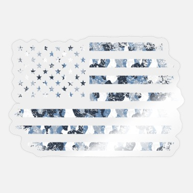 Browning Deer Camo Camo American Flag USA Military Style Grey Blue Ca - Sticker